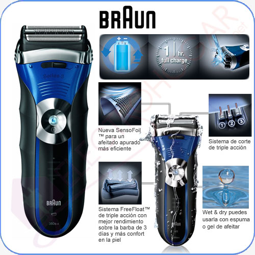 Imagen de Afeitadora eléctrica sin cables lavable Braun 380s-4 W&D Series 3
