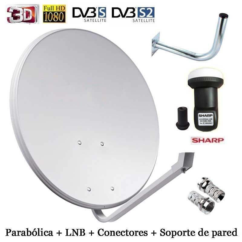 Imagen de Kit Parabólica de 80cm Tecatel + LNB Sharp + soporte + conectores