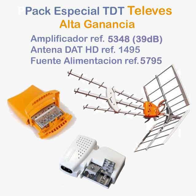 Imagen de Antena Televes HD + Alimentador + Amplificador alta ganancia 2 UHF.