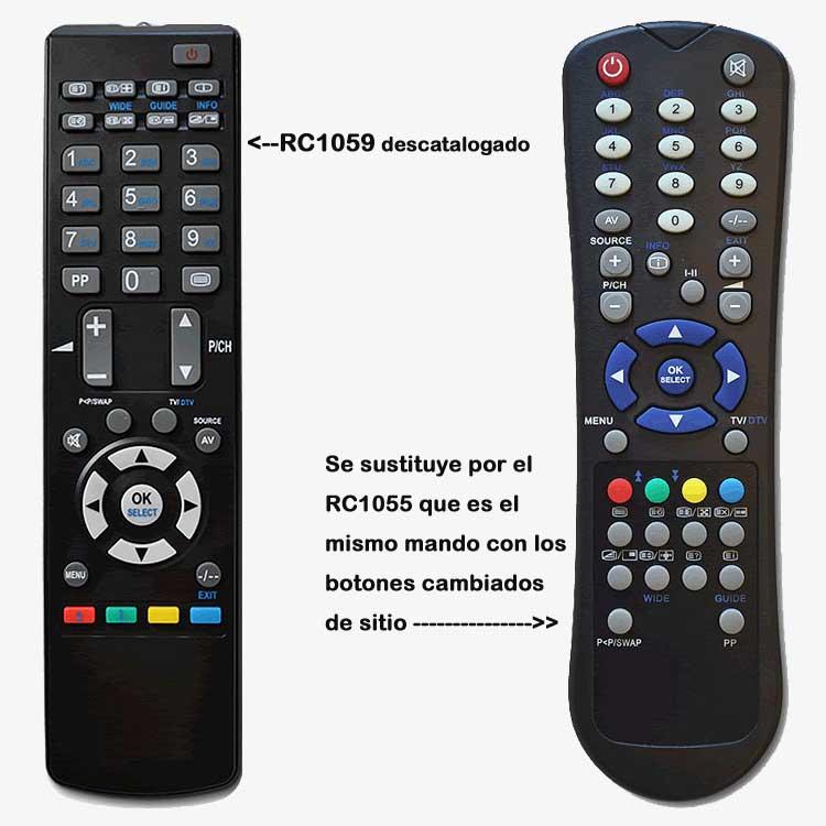 Imagen de Mando a distancia original RC1059 sustituido por el RC1055