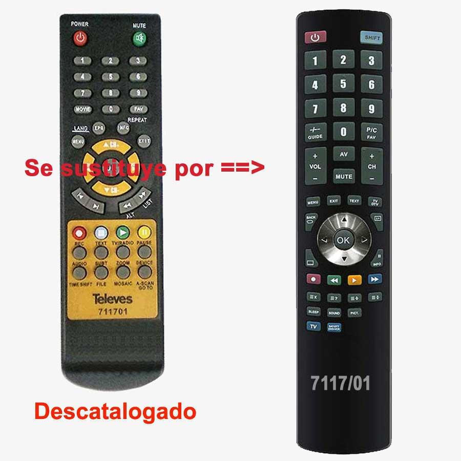 Imagen de Mando a distancia sustituto del mando original Televes ref. 7117/01