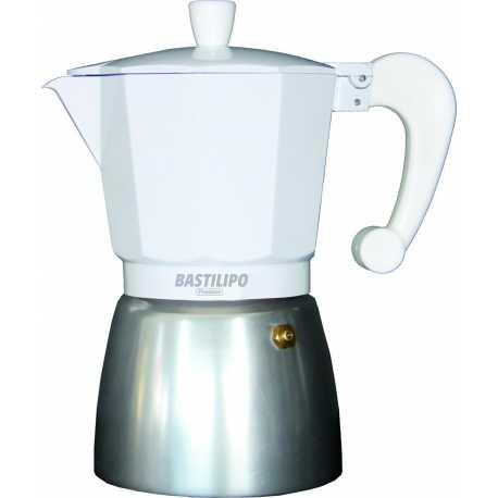 Cafetera de aluminio Bastilipo 6312 de 9 tazas color Blanca