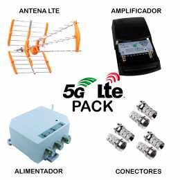 Pack de ANTENA + AMPLIFICADOR + ALIMENTADOR + CONECTORES. Con filtro 5G LTE