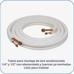 Tubos montaje aire acondicionado 1 4 y 1 2 3m abocardado con tuercas