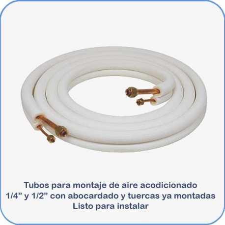 Tubos montaje aire acondicionado 1 4 y 1 2 5m abocardado con tuercas