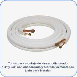 Tubos montaje aire acondicionado 1 4 y 3 8 5m abocardado con tuercas