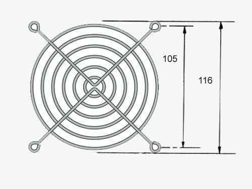 Rejilla de protección para ventiladores o extractores de 120 x 120 mm