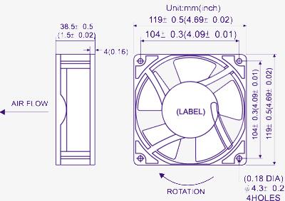 Ventilador/ extractor para cuadros electricos y maquinarias 120x120mm 220V