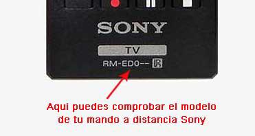 comprobación del modelo de mando a distancia Sony RM-ED062