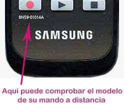 comprobación del modelo de mando a distancia Samsung