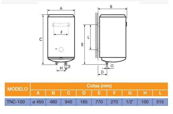 Esquema de montaje termo cointra TNC100