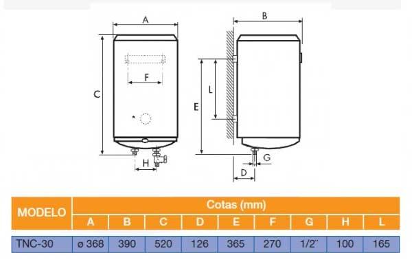 Esquema de montaje termo cointra TNC30