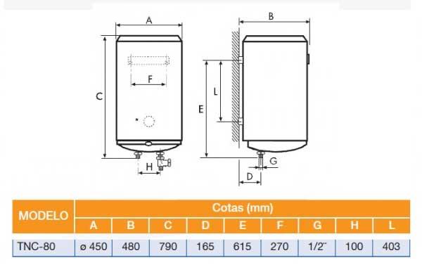 Esquema de montaje termo cointra TNC80