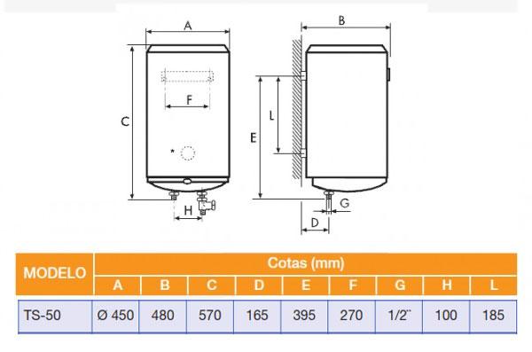 Termo el ctrico cointra timor ts 50 de 50 litros vertical - Termos de 50 litros ...